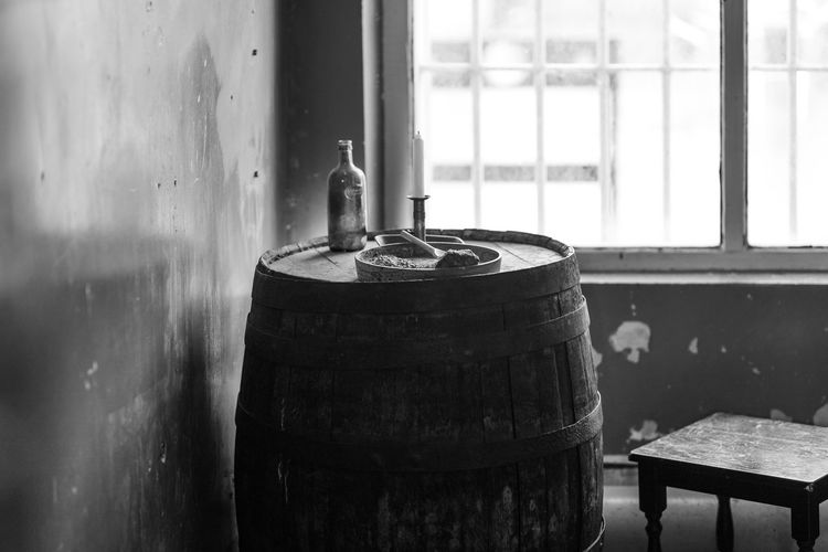 barrel Window Container Indoors  Metal Focus On Foreground Day No People Cylinder Still Life Barrel Wood - Material Old Table Close-up Abandoned Nature Kitchen Utensil Wall - Building Feature Household Equipment Monochrome Blackandwhite Black And White