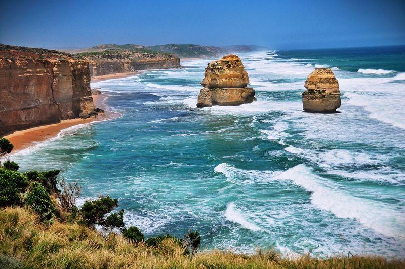 Idyllic shot of twelve apostles sea rocks against sky