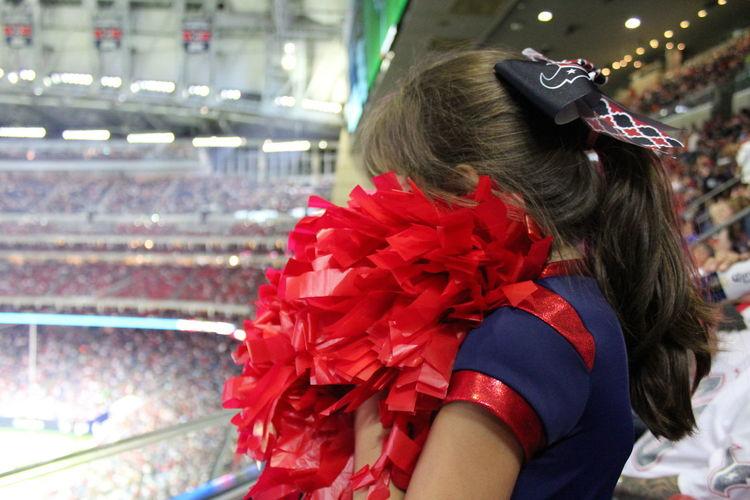 Cheerleading Football Gameday Houston Houston Texans Houston Texas NFL NFL Football NRG Ponytail Cheer Cheering Cheerleader Child Childhood Close-up Focus On Foreground Girl Girls Nrg Stadium Pompom Pompoms Red Reliant Stadium