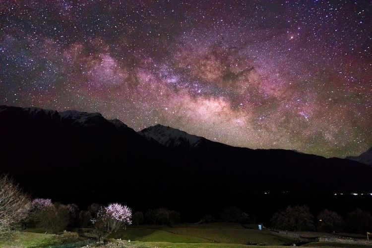 星空,雪山和桃花 索松村 西藏 林芝 银河 星空 Stars Tibet China Astronomy Milky Way Space Star - Space Constellation Glitter Moon