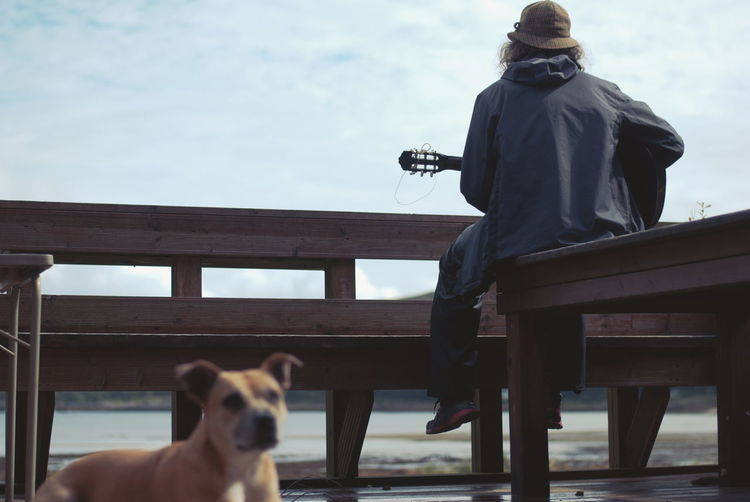 Dog by guitarist against sky