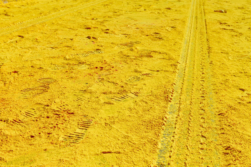 Paint The Town Yellow Running Backgrounds Day Ground LINE No People Outdoors Tire Track Yellow Yellow Color