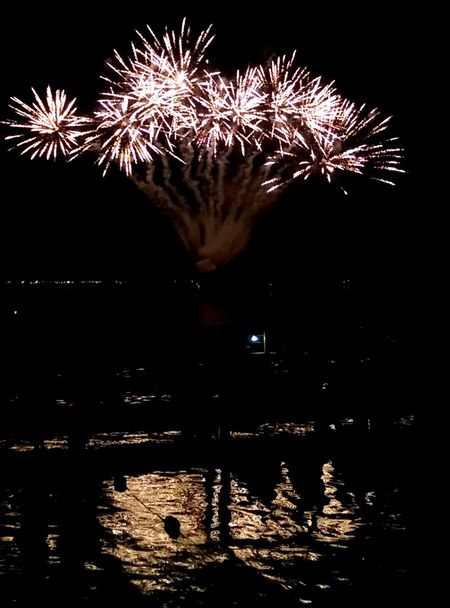 Firework Display Celebration Night Firework Glowing Illuminated Event Water Outdoors Entertainment 4th Of July Multi Colored Reflection