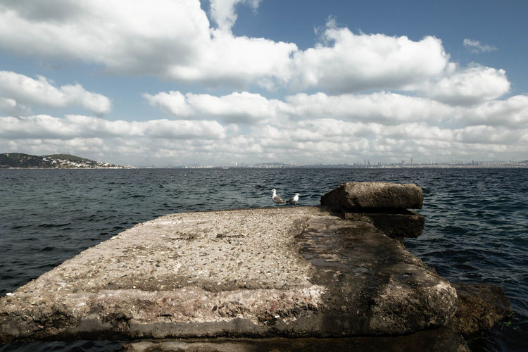 Marmara Sea Beauty In Nature Blue Calm Cloud Cloud - Sky Cloudy Day Horizon Over Water Idyllic Nature No People Non-urban Scene Ocean Outdoors Remote Rippled Rock Rock - Object Scenics Sea Sky Tranquil Scene Tranquility Turkey, Burgazada, Marmara Sea, Istanbul, Sea, Island, Princes's Island Water