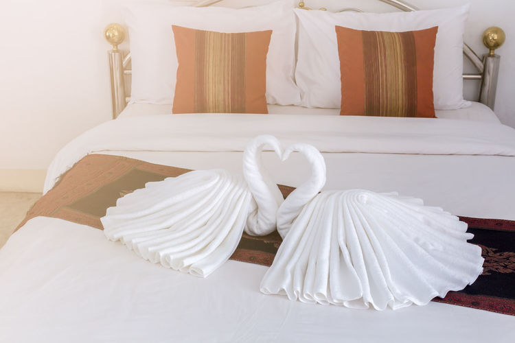 Bed Bedroom Celebration Close-up Decoration Domestic Room Event Furniture Home Interior Indoors  Linen Love Luxury No People Pillow Sheet Still Life Table Textile Wedding White Color