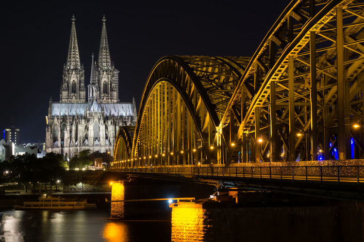 cologne cathedral Architecture Bridge Building City Citylights Cityscape Cologne Connection Kölner Dom Night No People Outdoors Urban Skyline Waterfront