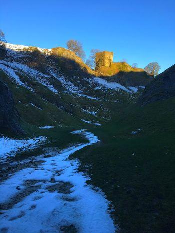 Peveril Castle Cold Temperature Winter Castleton