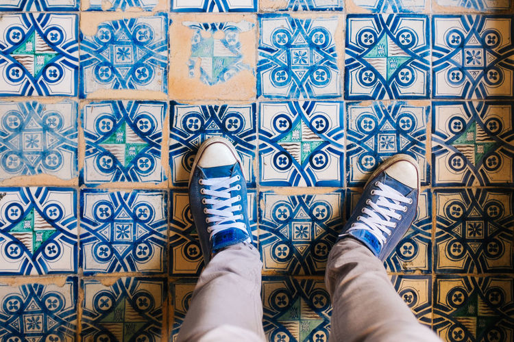 Ceramic floor Blue Close-up Day Design Flooring Fujifilm_xseries Human Foot Leisure Activity Lifestyles Low Section Multi Colored Part Of Pattern Person Personal Perspective Unrecognizable Person VSCO Vscofilm