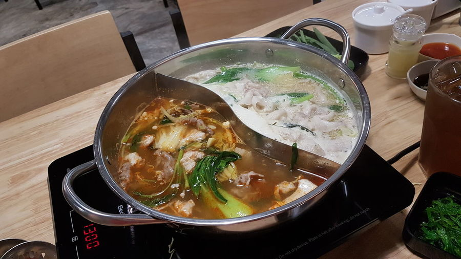 Dinner out with my girl in Bangkok Delicious Mixmeat Veggies Hotplate Cook  Yourself Bangkok Thailand Travel Fun Love Noushy EyeEm Selects City Soup Bowl Table Soup Bowl High Angle View Meat Liquid