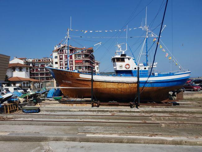 Pesquero Nautical Vessel Clear Sky Water Moored Blue Sky Trawler