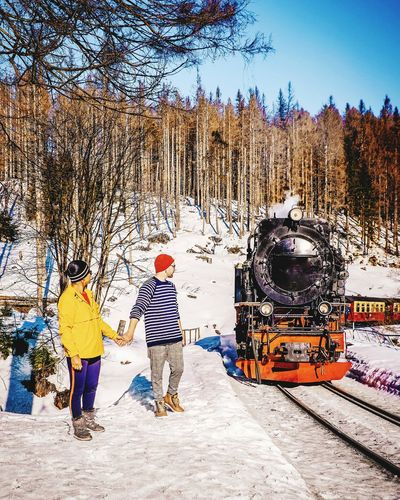 Harz Steam Train Travel Steam Train Women Couples Woman Man Couples In Love Valentine Germany Harzmountains Harz Mountains, Germany Harz Brocken White Snowcapped Mountain Winter Snow Tree Low Section Full Length Men Sky Cold Temperature Deep Snow Tourism Cold Frozen