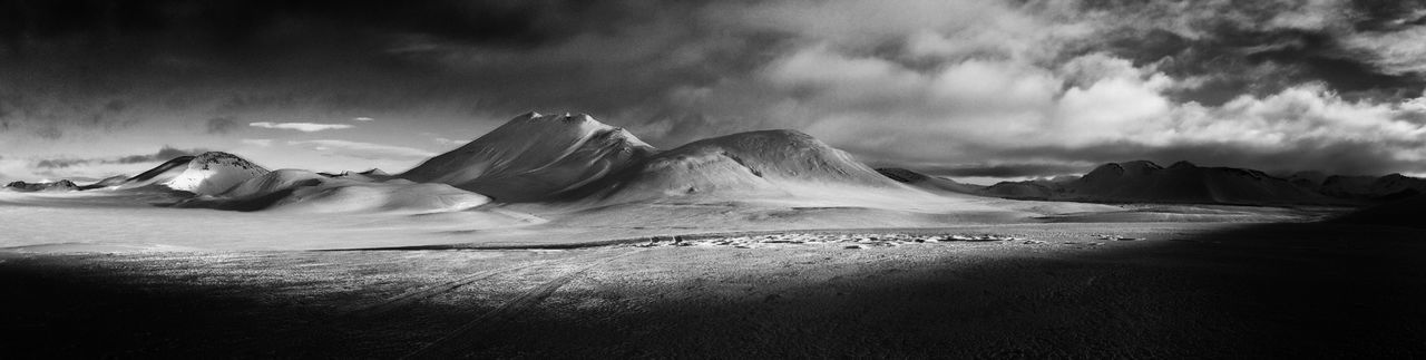 Winter landscape of Landmannalaugar in Iceland Landscape Traveling Blackandwhite Panorama
