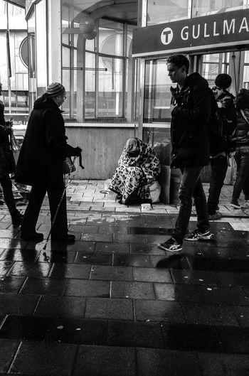 Begging in the snow Human Interest Gullmarsplan Stockholm Black And White