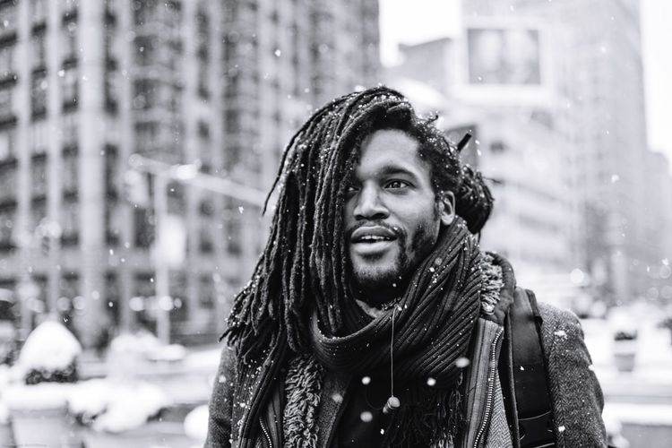 Men With Locs Men Of Color Flatiron Building NYC NYC Snow Snowing Warm Clothing City Day Portrait Leisure Activity Happiness Lifestyles Headshot Smiling Real People People Nature