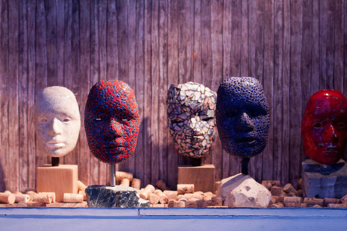 Decoration Group Of Objects Masks Multi Colored No People Shop-window Side By Side Still Life