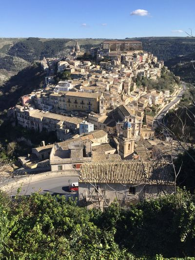 Winter landscape images of Ibla, Ragusa Architecture Building Exterior Built Structure City Cityscape Day High Angle View Ibla Italy Nature No People Outdoors Shadow Sicily Sky Tree