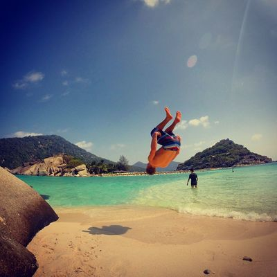 Adult Adults Only Adventure Backflip Beach Day Freedom Full Length Handstand  Jumping Leisure Activity Mid-air Motion Mountain Nature One Person Outdoors People Real People Sand Sea Sky Vacations Water EyeEmNewHere