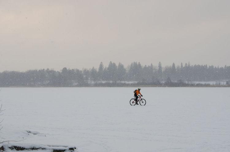 Bicycle on a frozen lake Birds Cold Escapism Finland Frozen Horizon Over Land Ice Järvenpää Lake Landscape Man Non-urban Scene Outdoors Scenics Snow Sport Tranquil Scene Tranquility Water Weekend Activities