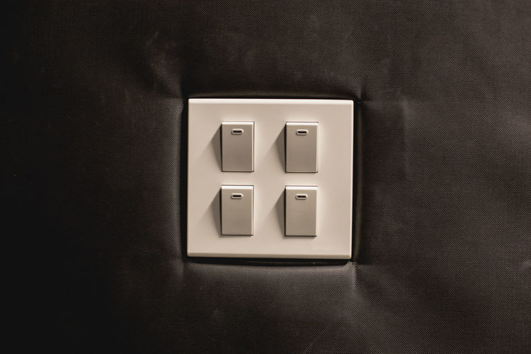 Close-up of switches on fabric