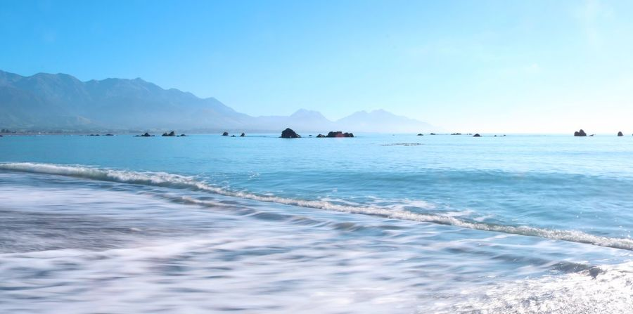 Water Sea Scenics - Nature Mountain Beauty In Nature Sky Tranquil Scene Tranquility Land Nature Day Outdoors Kaikoura Kaikoura New Zealand Waves Morning Sun Morning Blue Mountains New Zealand No People Landscape Beach Waterfront Nautical Vessel Idyllic Clear Sky Transportation