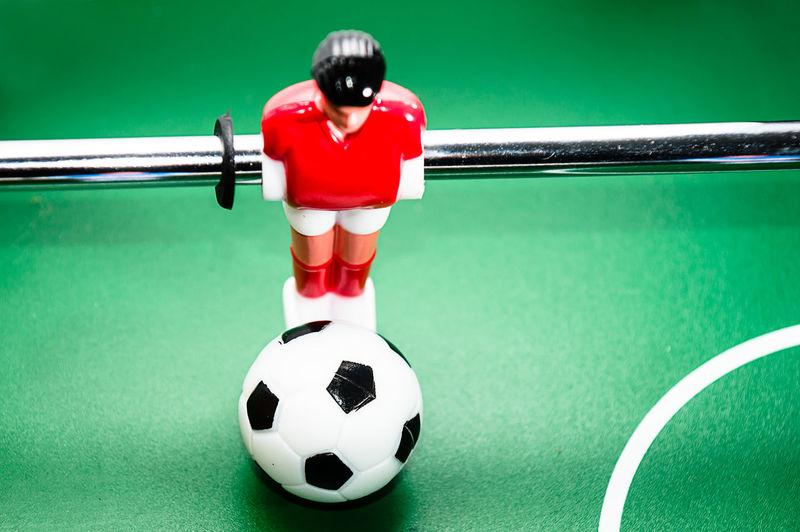 High angle view of foosball table figurine