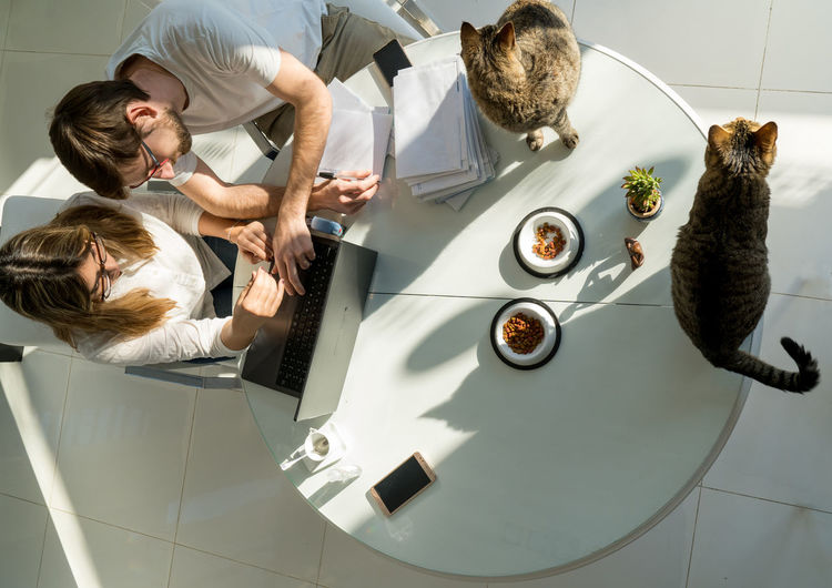 High angle view of people on table