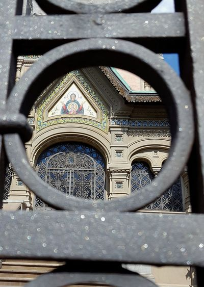 Russian Orthodox Church Chiesa Russa Ortodossa Firenze Florence Italy Italia Close-up Wrought Iron Gates Religion Architecture Ornate Pattern No People Focus On The Background Low Angle View Built Structure Cityscape Catherine2017 Visual Creativity Adventures In The City
