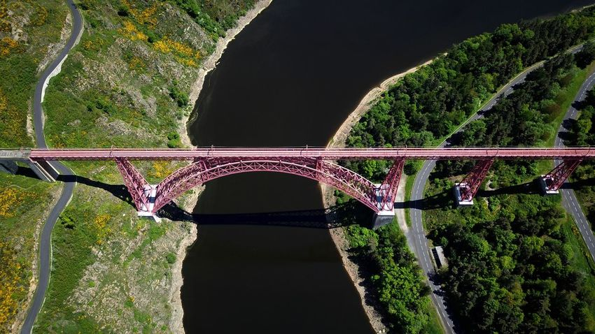 Viaduc de Garabit River DJI Mavic Pro Dji Aerial View Dronephotography Plant Nature No People Green Color Tree Sunlight Connection Bridge - Man Made Structure High Angle View Water Bridge Arch Transportation
