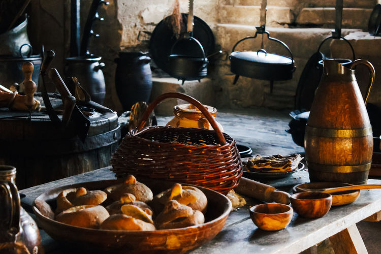 Container Basket Indoors  No People Freshness Kitchen Utensil Large Group Of Objects Choice Food And Drink Wellbeing Food Still Life Household Equipment Variation Healthy Eating Bowl Abundance Day Kitchen Table Medieval Bread Panoramic