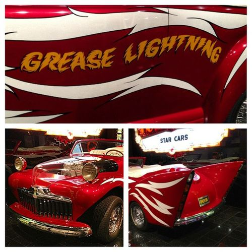 Yesterday looking at cars in the car museum. Grease Verynice Stunned Happy LA picstitch