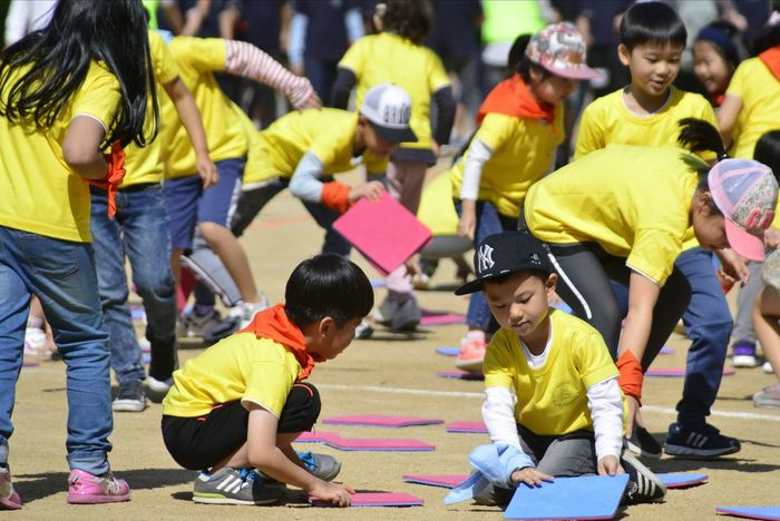 Paint The Town Yellow Child Childhood Girls Boys Education Togetherness Teamwork Learning Children Only Student