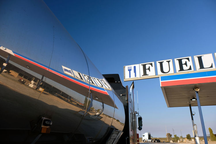 Nullarbor Desert Remote Road Trip Blue South Australia Fuel And Power Generation Gas Station Tanker Reflection Text Communication Transportation Low Angle View No People Copy Space Outdoors Silver Colored Roadhouse Industry