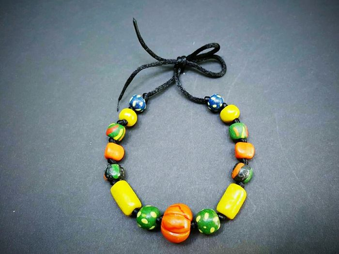 Contemporary clay necklace of Palauan money Jewelry Necklace Multi Colored Palau Palauan