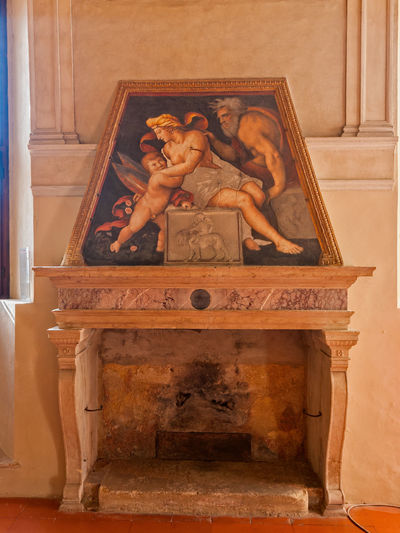 Mantua, Italy - January 4 2019: Frescos on the walls of the Gonzaga castle Indoors  Representation Architecture Craft No People Human Representation Art And Craft Sculpture Wood - Material Religion Spirituality History The Past Wall - Building Feature Belief Creativity Carving - Craft Product Statue Built Structure Antique Frescos Mantua Italy Gonzaga Castle