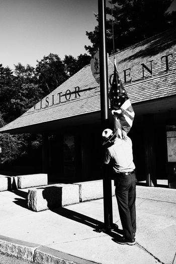 American Flag Black & White Boston New England  The Street Photographer - 2018 EyeEm Awards USA America Blackandwhite Flag Flag In The Wind Flag Raising Massachusetts Ranger Street Streetphotography