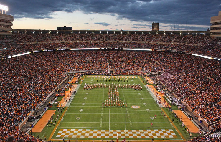 University of Tennessee Pride of the Southland Marching Band creating Power-T formation during pregam Checkerboard Crowd Football Football Fever Geometric Shape Green Marching Band Neyland Stadium Outdoors Pride Of The Southland Marching Band Spectators University Of Tennessee The Color Of Sport