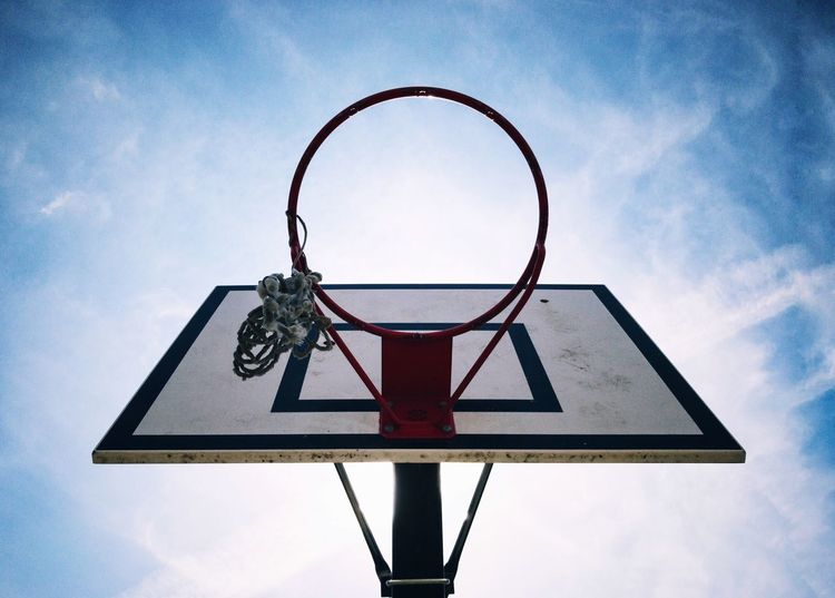Basketball hoop Basketball Hoop Sky Basketball Cloud - Sky Basketball - Sport Low Angle View Day Sport No People Outdoors Leisure Games Close-up Freedom Reach For The Sky Reach 4 The Sky