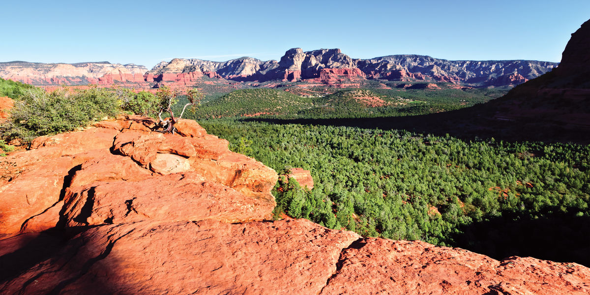 A panorama view of the Red Rock Secret Mountain Wilderness from the top of the Devil's Bridge Arch near Sedona Arizona. Arizona Devil's Bridge Sedona Natural Arch Natural Beauty Panorama Sedona Landmark Landscape Mountain Natural Bridge