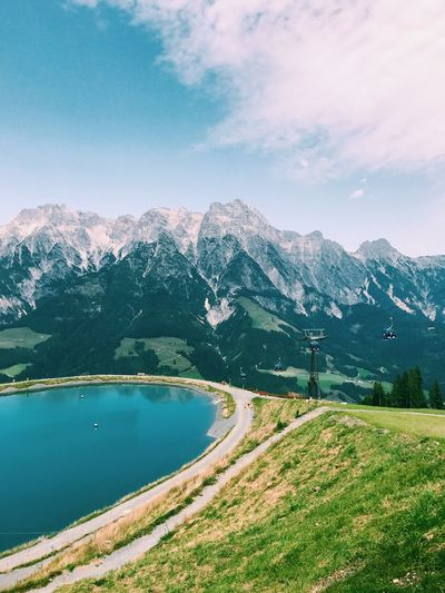 Leogang Alps Austrian Alps Mountain Nature Beauty In Nature Tranquil Scene Mountain Range Tranquility Sky Outdoors Landscape Lake View