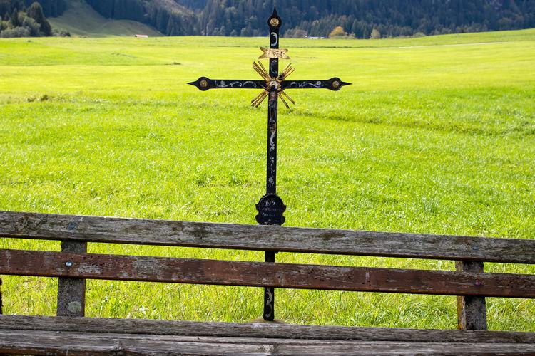 Cross on field