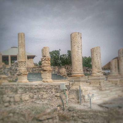 Some broken Roman columns at Beit She'an Beit Shean Israel Jewish Romen