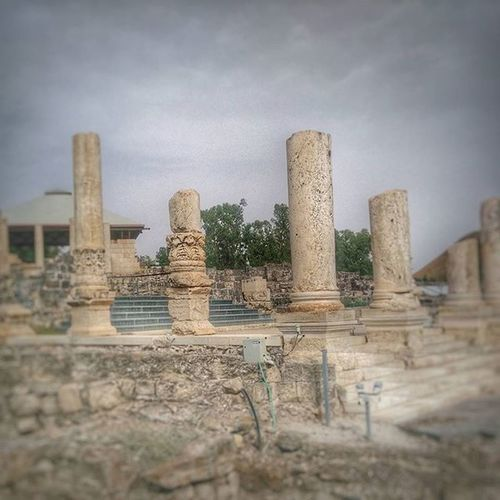 Some broken Roman columns at Beit She'an Beit Shean Israel Jewish Romen