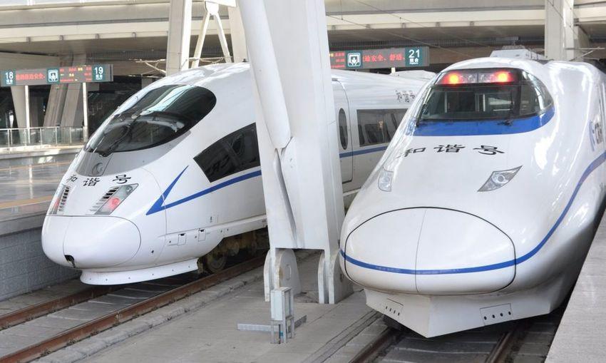 China China Railway High CRH Locomotive Public Transport Railroad Station Railroad Station Platform Train Transportation