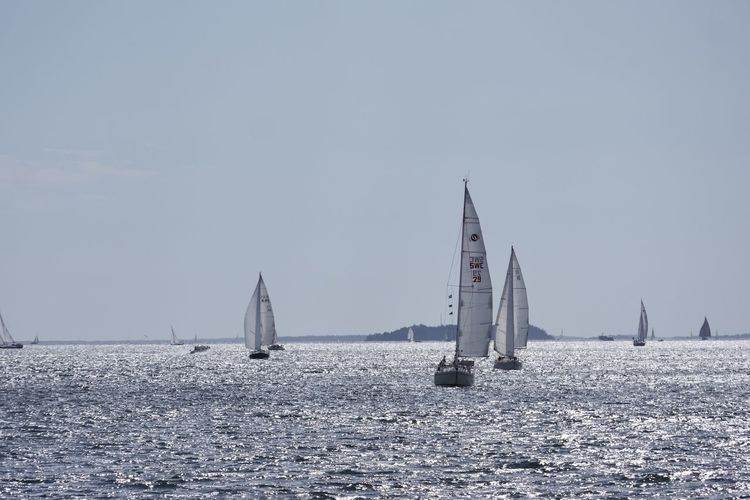 Sailboats on the open sea Boat Calm Canvas Clear Sky Day Journey Mast Mode Of Transport Nature Nautical Vessel Ocean Outdoors Rippled Sailboat Sailing Sailing Boat Sea Sea And Sky Seascape Sky Tranquil Scene Tranquility Transportation Water Waterfront