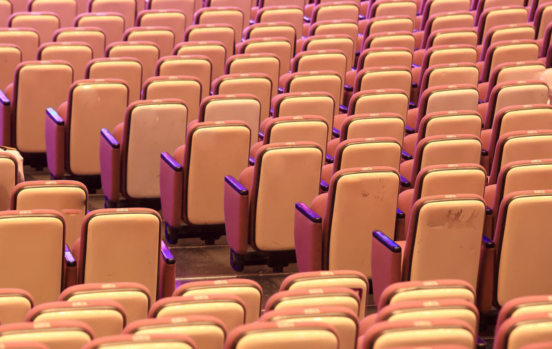Full frame shot of chairs in auditorium