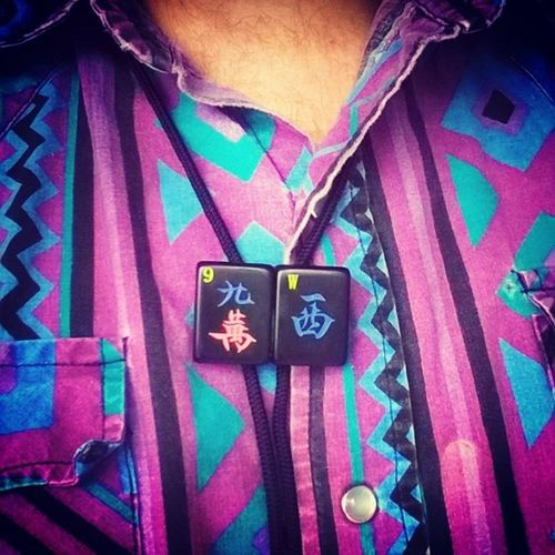My 100% exclusive bolo tie for @9thwondermusic.. Patrick - all you need to do is claim it! I've been trying to pass it along to you via Cesar Comanche but our schedules haven't linked up right yet. I'd love to give ya this one of a kind bolo tie handmade with black mahjong tiles. Let me know how to get it to you brotha. Much peace. Raleigh Ncsu NCStateCypher 9thwonder handmade dopeshit