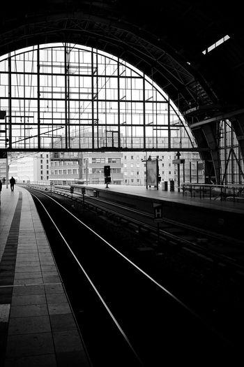 Railroad station platform against sky