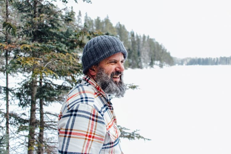 Flannel EyeEm Selects Winter Cold Temperature Beard Snow Only Men Adults Only Enjoyment Happiness Outdoors Mature Adult One Man Only Warm Clothing Knit Hat One Person Nature Tree Checked Pattern