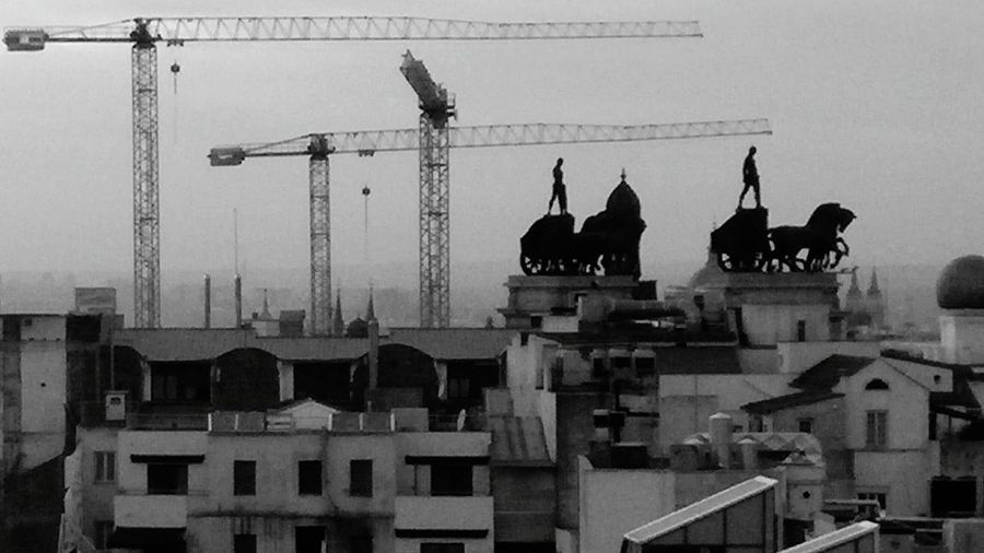 Building Exterior City Sky Statue Cityscape Urban Scene Black And White Taking Photos Madrid Hello World Urban Skyline Madridmemola B&w Street Photography B&w Photo Madrid, Spain