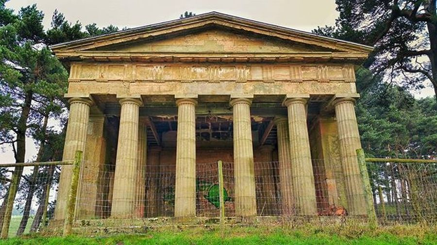 Temple of Thesus, folly on the Hagley Estate .TheTemple of Theseus built from 1759 to c. 1762 at a cost of £300 was a gift from Admiral Smith, Lyttelton's half-brother. Instagram Bbcmtd POTD Hillwalking Hills Trees Countryside Temple Thesus Stourbridge Picoftheday Photooftheday Love Instapic Hagley Folly Clent Igers Hagleyhall